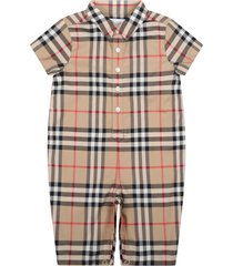 burberry beige romper for babykids with vintage check