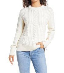 women's vineyard vines crewneck fisherman sweater, size xx-small - ivory