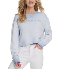 dkny jeans cropped logo-print cotton top