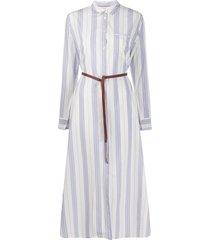 forte forte striped belted waist shirt dress - blue