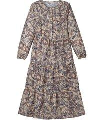 bio-katoenen jurk met paisley-print en ruches, camel-bedrukt 46