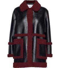 haley jacket lange leren jas lange jas rood stand studio
