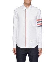 front zipper stripe sleeve oxford shirt
