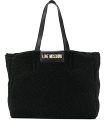 love moschino logo plaque fleece tote - black