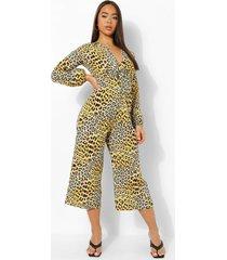 luipaardprint wide leg jumpsuit, yellow