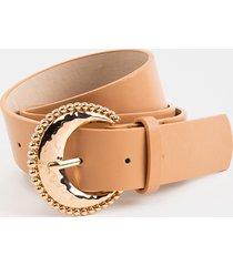 women's evie western dot buckle belt in tan by francesca's - size: l