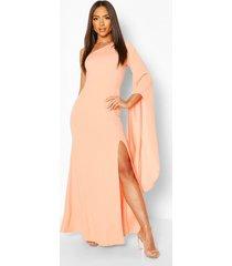 one shoulder cape detail maxi dress, apricot