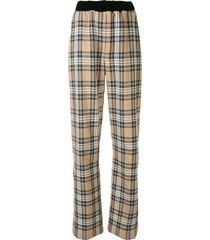0711 checked print trousers - neutrals