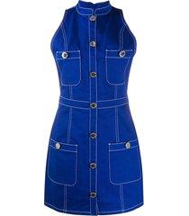 balmain sleeveless denim dress - blue