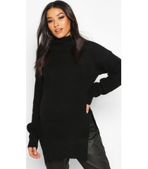 maternity roll neck side split nursing sweater, black