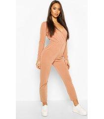 soft wrap front lounge jumpsuit, camel