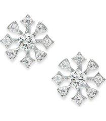 eliot danori silver-tone cubic zirconia cluster stud earrings, created for macy's