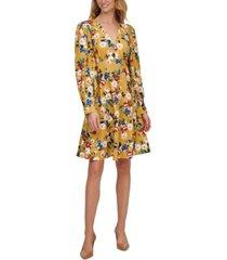 calvin klein balloon-sleeve floral-print dress