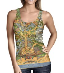 disneyland vintage map ladies tank top