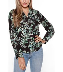 belldini black label floral print collared button up shirt