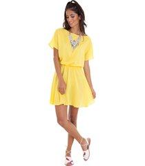 vestido manola viscose ombrinho amarelo