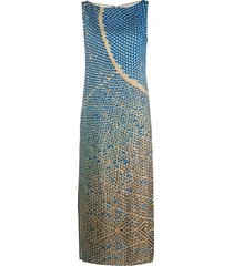 akris punto sleeveless printed shift dress - blue