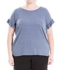 max studio women's plus ruffle-sleeve top - denim - size 3x (22-24)