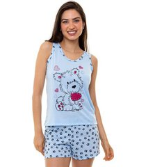 pijama short doll regata dog feminino adulto