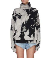 marble effect print mock neck sweatshirt