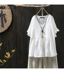 zanzea para mujer de algodón de cuello v tapas flojas de la blusa de las señoras camisetas ocasionales más el tamaño (no incluir los pantalones) -blanquecino