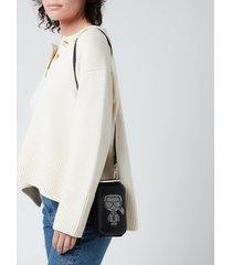 karl lagerfeld women's k/ikonik rhinestone clutch bag - black