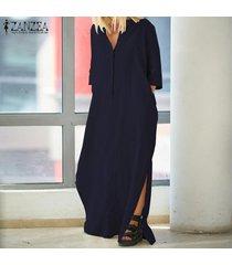 zanzea mujeres 3/4 tamaño ocasional de cuello en v plus kaftan vestido de tirantes vestido maxi -azul