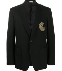 alexander mcqueen embroidered suit jacket - black