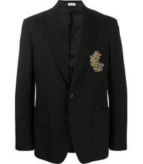 alexander mcqueen embroidered suit jacket - black