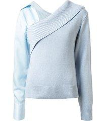 hellessy off shoulder detachable sleeve sweater - blue