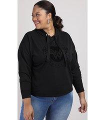 blusão de moletom feminino plus size mulher maravilha com capuz preto