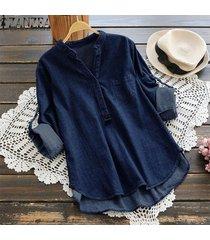 zanzea mujeres de manga larga ajustable blusa ocasional del dril de algodón azul tops botones de la camisa -azul oscuro