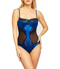 women's barbie satin and floral lace bodysuit patterned with soft sheer mesh panels set