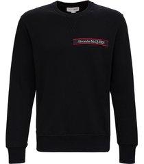 alexander mcqueen black cotton sweatshirt with logo