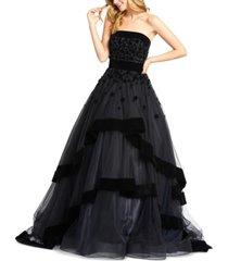 mac duggal strapless velvet-trim tiered ball gown