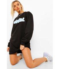 millennial sweatshirt jurk met tekst, black