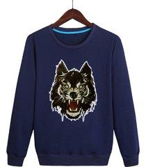cartoon lion head print casual sweatshirt