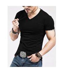 camiseta slim fit masculina gola v frozini lycra preta