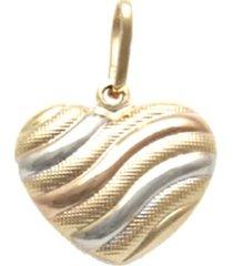 pingente prata mil coração tricolor ouro