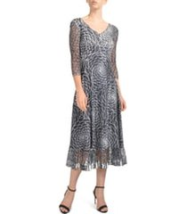 women's komarov charmeuse & lace midi dress