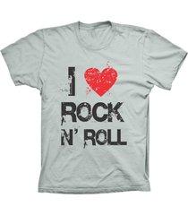 camiseta lu geek manga curta i love rock prata