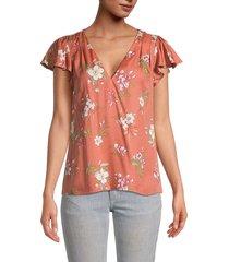 rebecca taylor women's lita floral cap-sleeve top - sunset - size 2