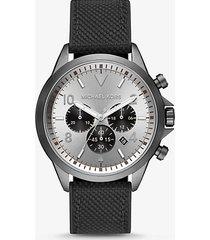 mk orologio gage oversize tonalità canna di fucile con cinturino in tessuto - nero (nero) - michael kors
