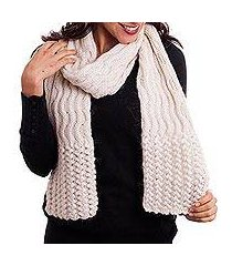 100% alpaca scarf, 'wavy winter' (peru)