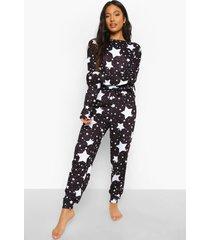petite sterrenprint pyjama set met open schouders, black