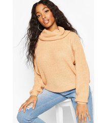 cowl roll neck oversized sweater, camel
