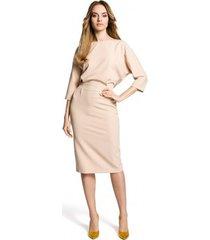 korte jurk moe m360 halflange jurk met loszittende top - beige