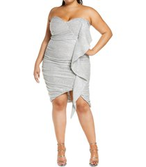 plus size women's lavish alice ruffle ruched sequin dress, size 22w - metallic