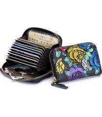 rfid portafoglio per banconote con impresso 10 monete vera pelle da donna