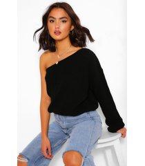 one shoulder sweater, black
